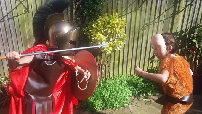 James and Richard's fantastic Greek costumes!