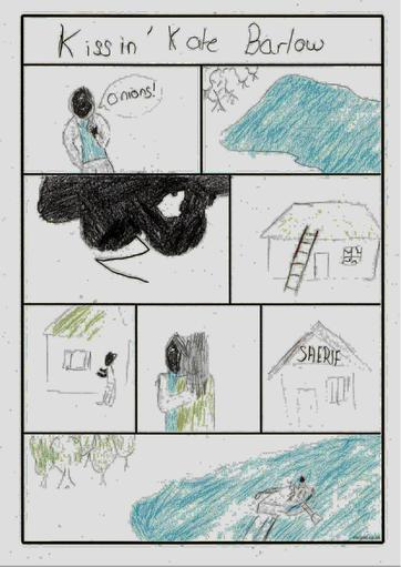Sam's drawn a comic to show the story of Kate...