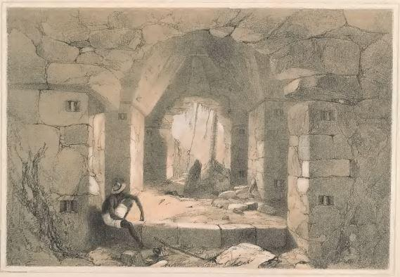 Catherwood's drawing of a gallery in the palace