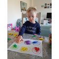 He's been teaching colours.