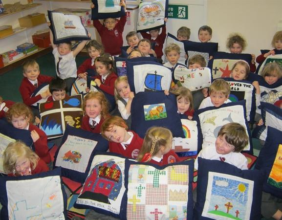 Prayer cushions made by our Buddies in Year 6