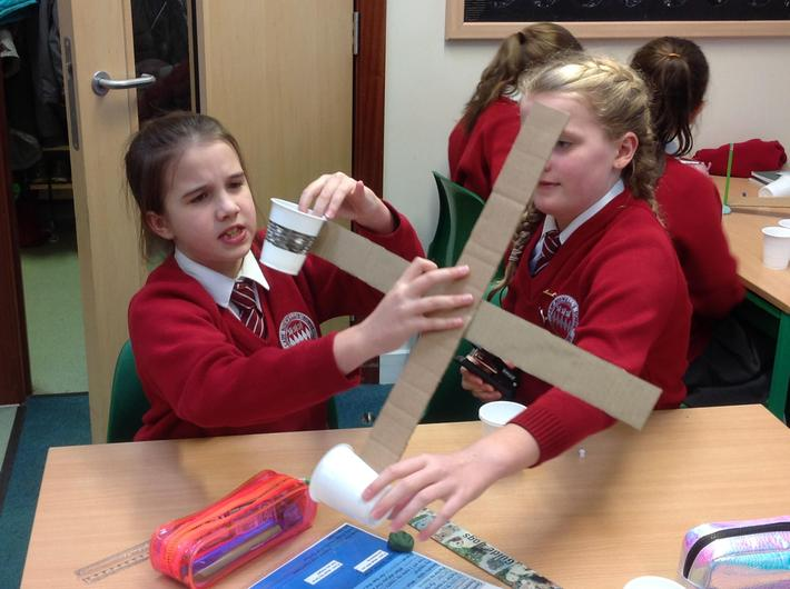 Year 6 making anemometres