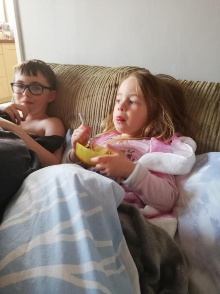 Snuggled up watching a film and eating Easter Eggs