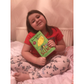 Skyla with her new David Walliams book.