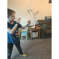 Oliver practicing his martial arts on line
