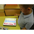 Using primary colours to create a pattern on our light box.