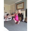 Jessica practising her free cartwheel - WOW!