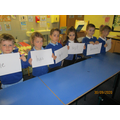 We made human sentences to practise how to order our words to make sentences.