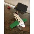 Fowzia has made a big white aeroplane with 2 green wings