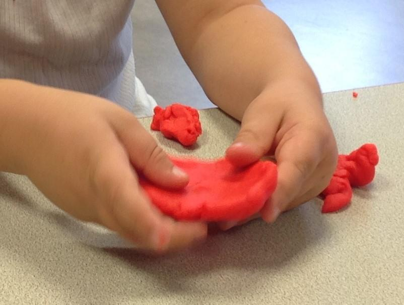 making a 'pizza'- using tips of all fingers