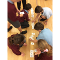 We created an enormous number line in the hall.