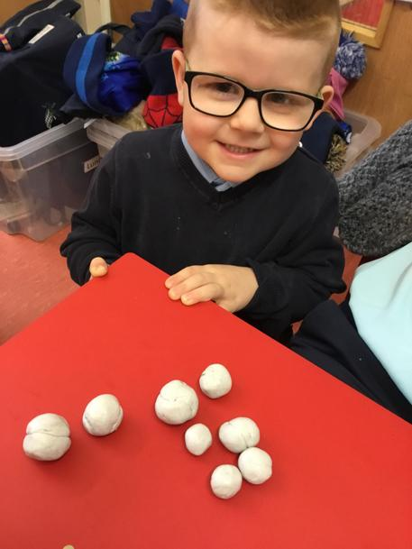'I made 8 snowballs 6 and 2 more.'