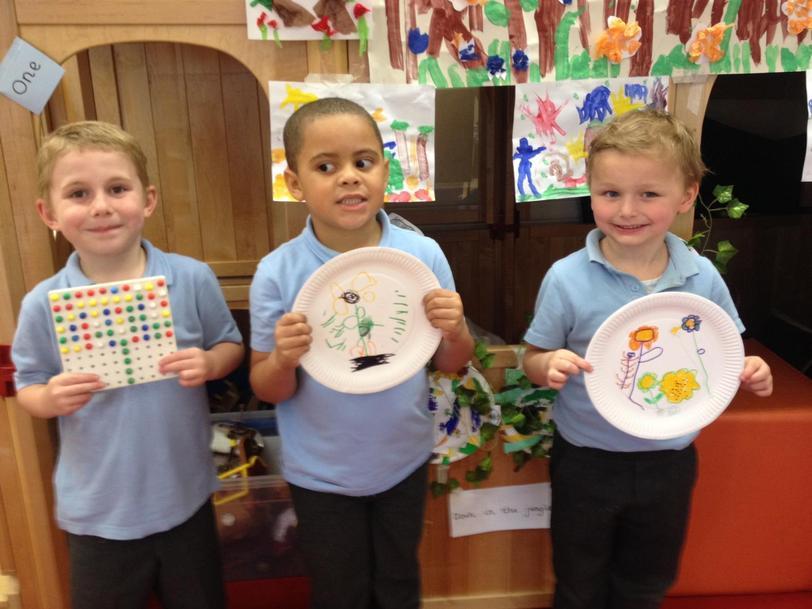 N, J and B used pegs/felt tips to create flowers