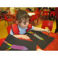Using pointillism to decorate our rocket pictures.