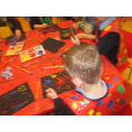 Using primary colours to paint fireworks.