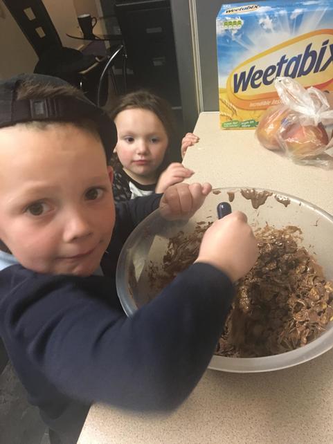 Lucas baking for Easter