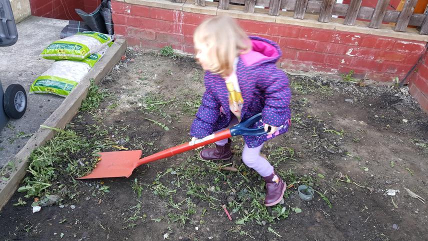 Weeding the garden.