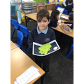 Bernardo worked really hard on his monster!