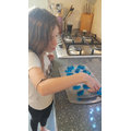 Faye making jelly soap