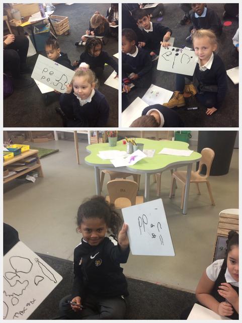 Writing CVC words.