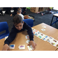 Bernardo matching the correct story cards!