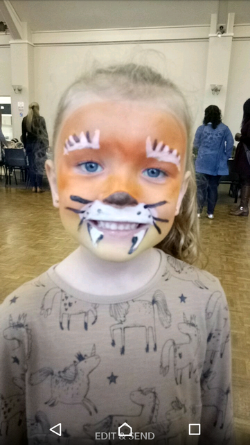 Lyra as a tiger for her friends party