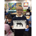Caden impressed us with his animal print art!