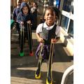 Happy on stilts