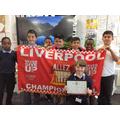Celebrating the Liverpool win!