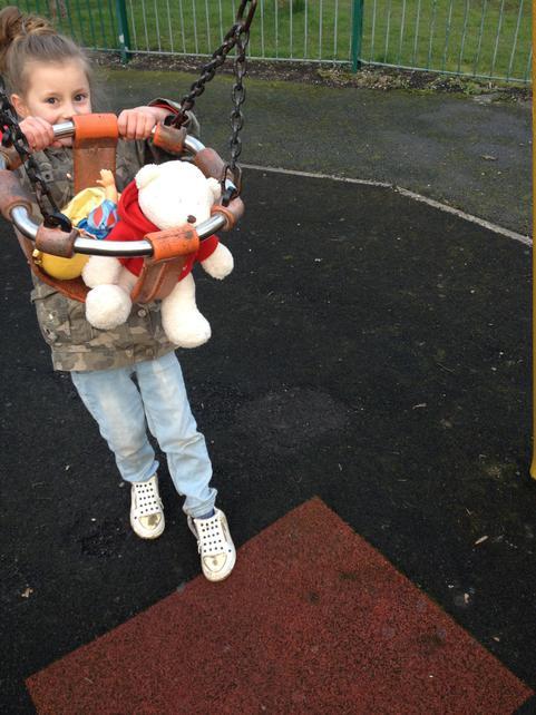 Lexi with Bob the bear