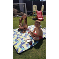 Faye enjoying the sunshine with her bro!