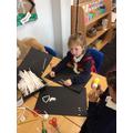 Elsie making a skeleton!