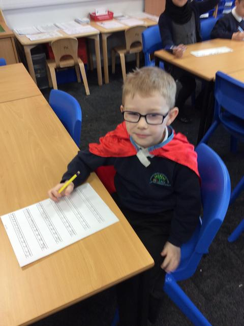 Davud worked independently on his handwriting.