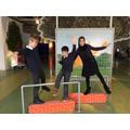 Harry, Yad and Mahek practising their balances