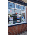 Faye decorated her window for VE day!