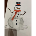 What a detailed snowman drawing!