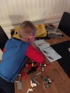 Jacob playing with his lego