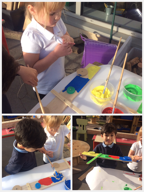 Painting our woodwork models.