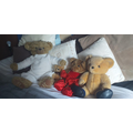 Meeting the bears at Mrs T's house. Big Bear, Edwina Ballerina, Little Ted