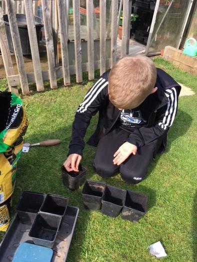 Ben enjoying gardening,