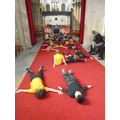 we thought about the shape of the church being a cross and made a cross shape on the floor