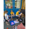 we made foot prints using paint and then washed our feet.