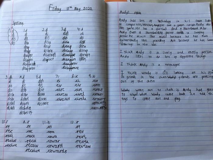 Reece's spelling + full sentence responses.