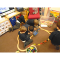 problem solving anf team work to build a train track