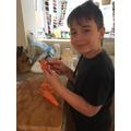 Arlen prepping the veg