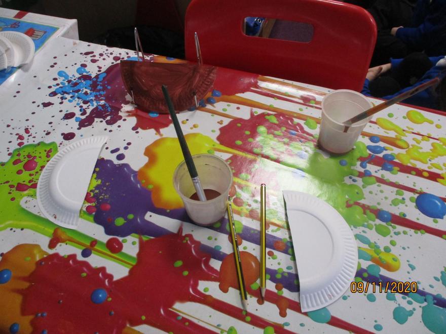 Preparing our paper plate diva lamps!
