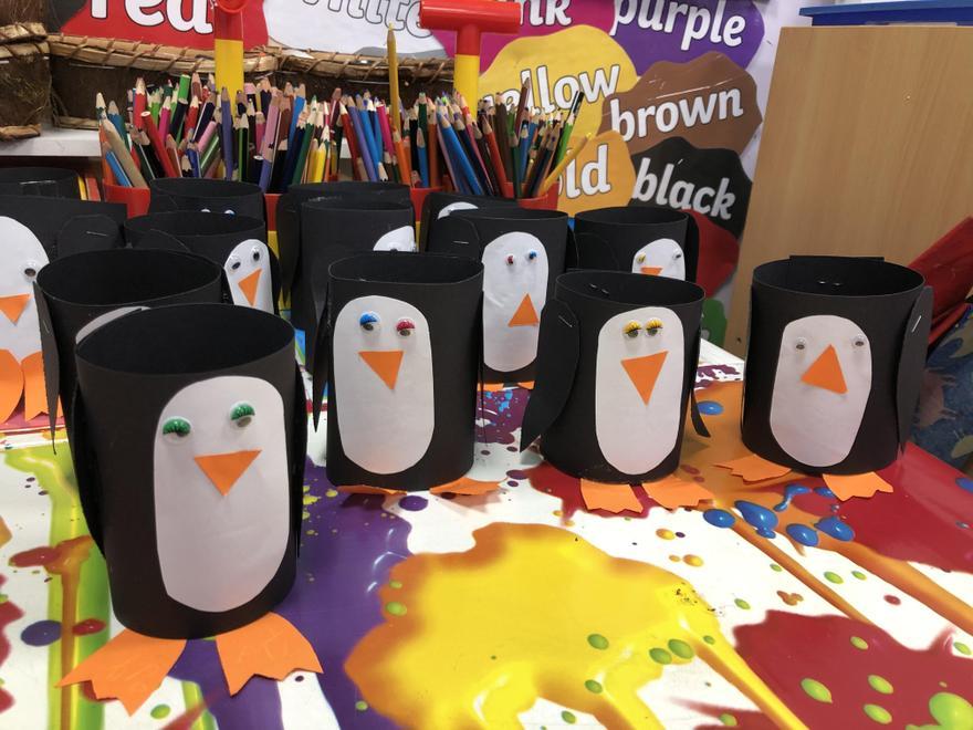 Paper tube penguins