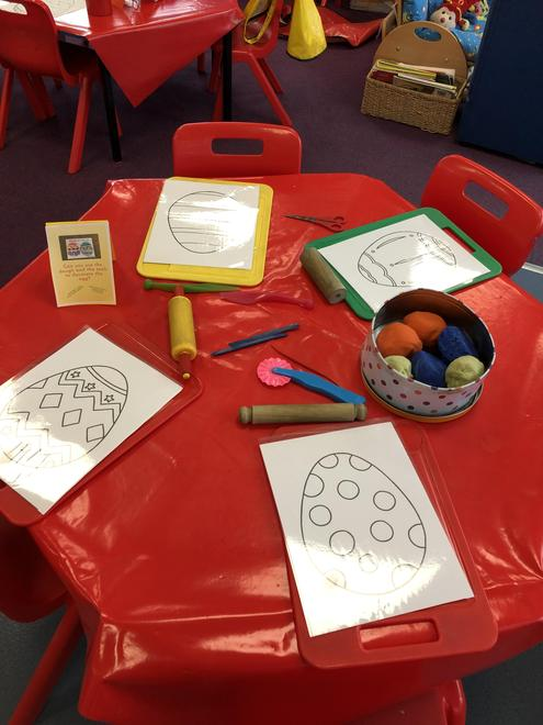 Making Easter egg patterns using play dough