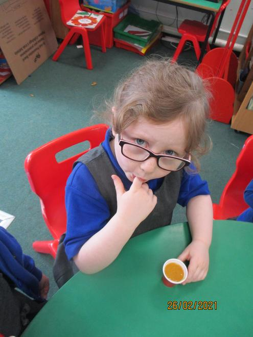 Making and sampling some vegetable soup