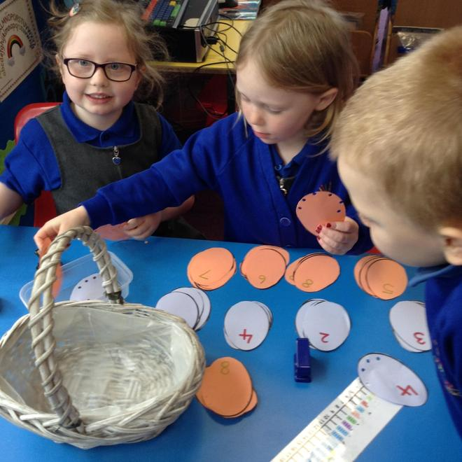 Hole punching eggs! Number recognition.